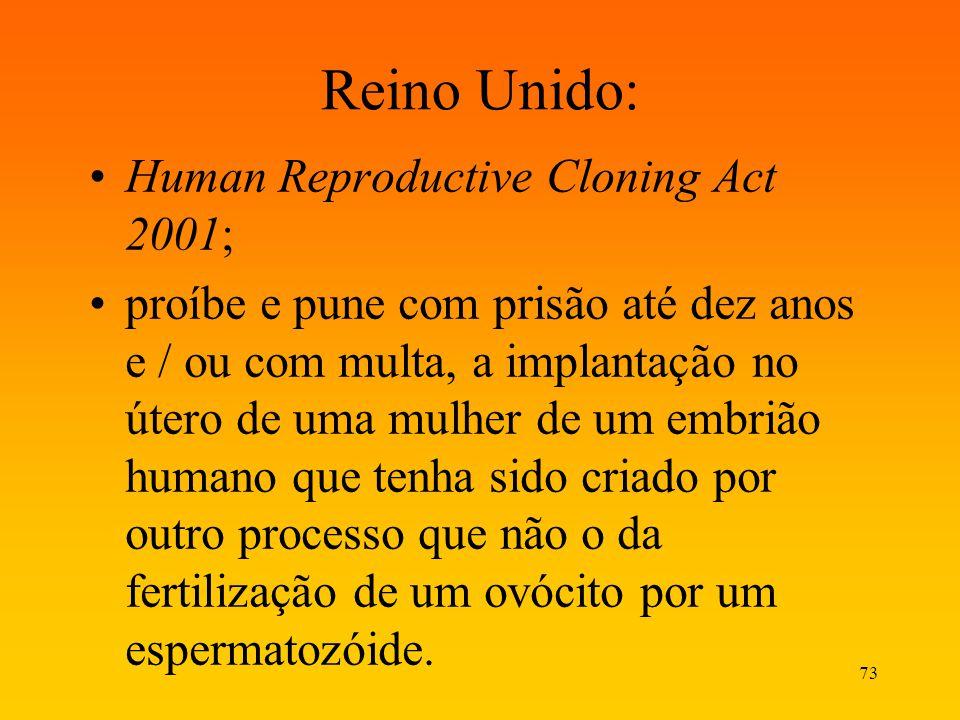 73 Reino Unido: Human Reproductive Cloning Act 2001; proíbe e pune com prisão até dez anos e / ou com multa, a implantação no útero de uma mulher de u