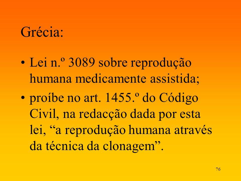 76 Grécia: Lei n.º 3089 sobre reprodução humana medicamente assistida; proíbe no art. 1455.º do Código Civil, na redacção dada por esta lei, a reprodu