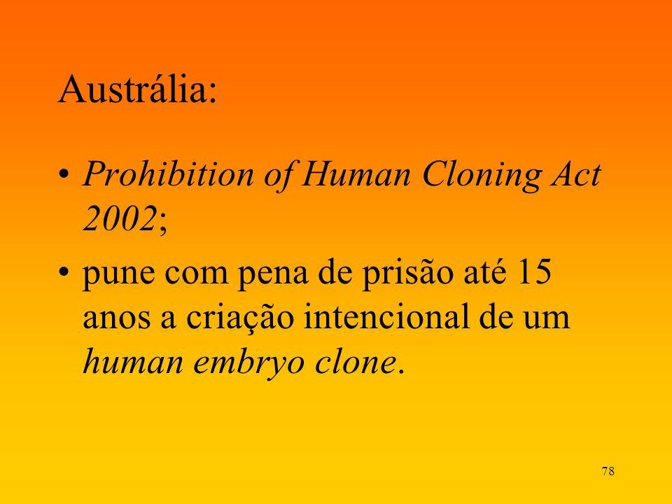 78 Austrália: Prohibition of Human Cloning Act 2002; pune com pena de prisão até 15 anos a criação intencional de um human embryo clone.