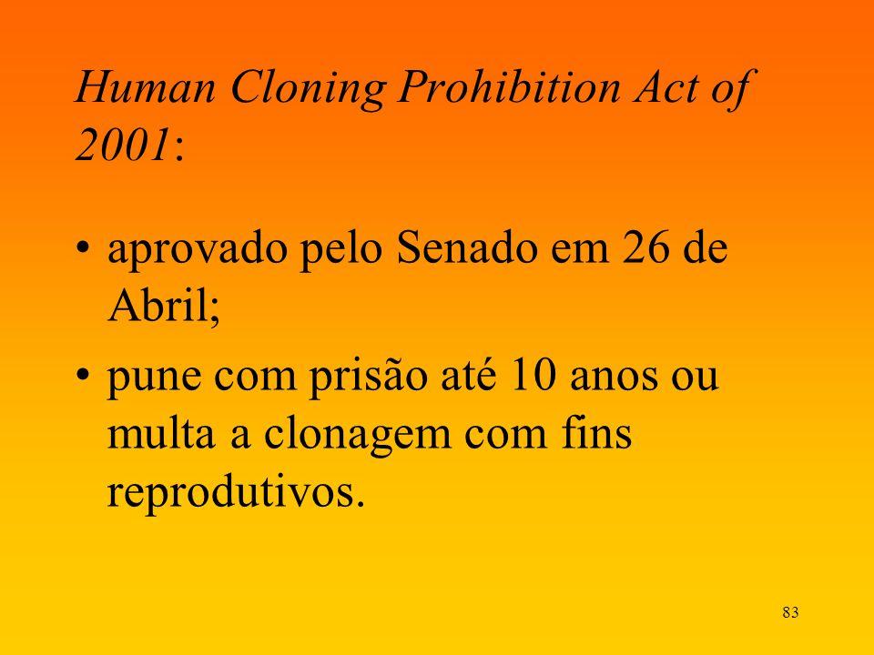 83 Human Cloning Prohibition Act of 2001: aprovado pelo Senado em 26 de Abril; pune com prisão até 10 anos ou multa a clonagem com fins reprodutivos.