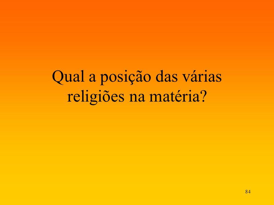 84 Qual a posição das várias religiões na matéria?