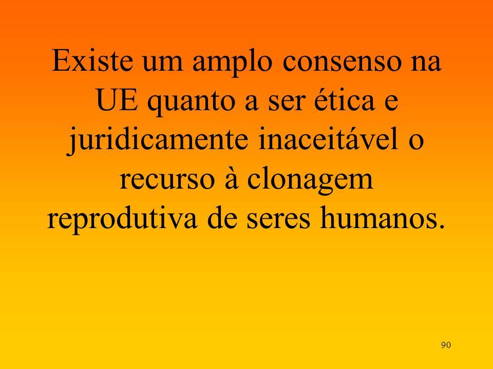 90 Existe um amplo consenso na UE quanto a ser ética e juridicamente inaceitável o recurso à clonagem reprodutiva de seres humanos.