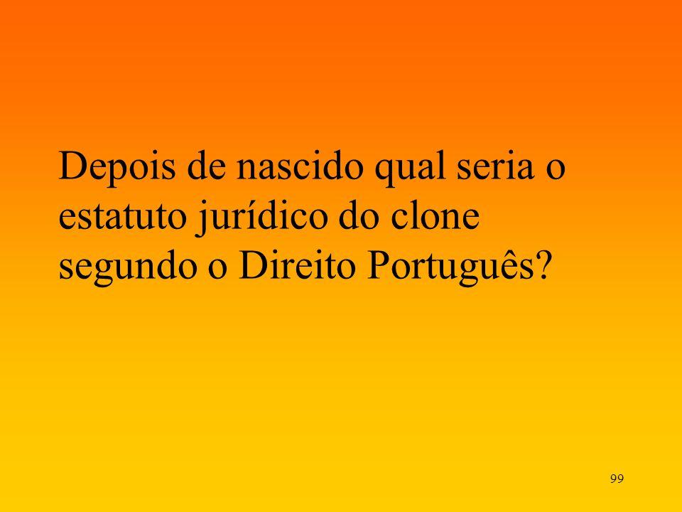 99 Depois de nascido qual seria o estatuto jurídico do clone segundo o Direito Português?