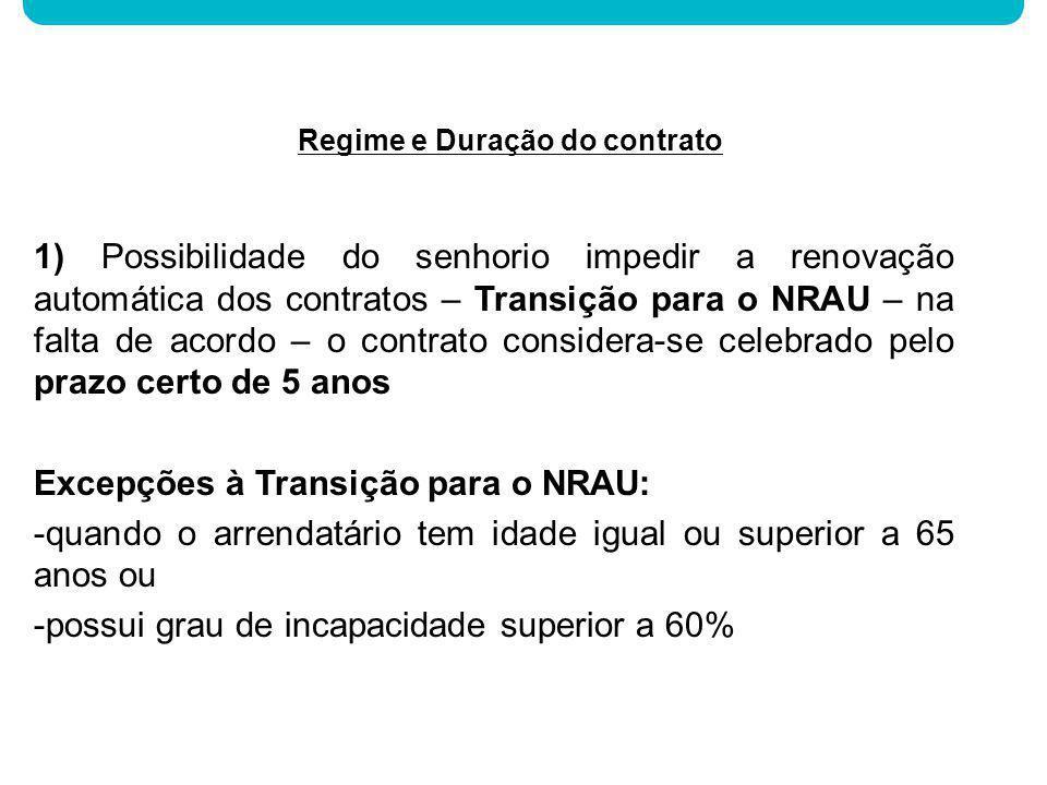1) Possibilidade do senhorio impedir a renovação automática dos contratos – Transição para o NRAU – na falta de acordo – o contrato considera-se celeb