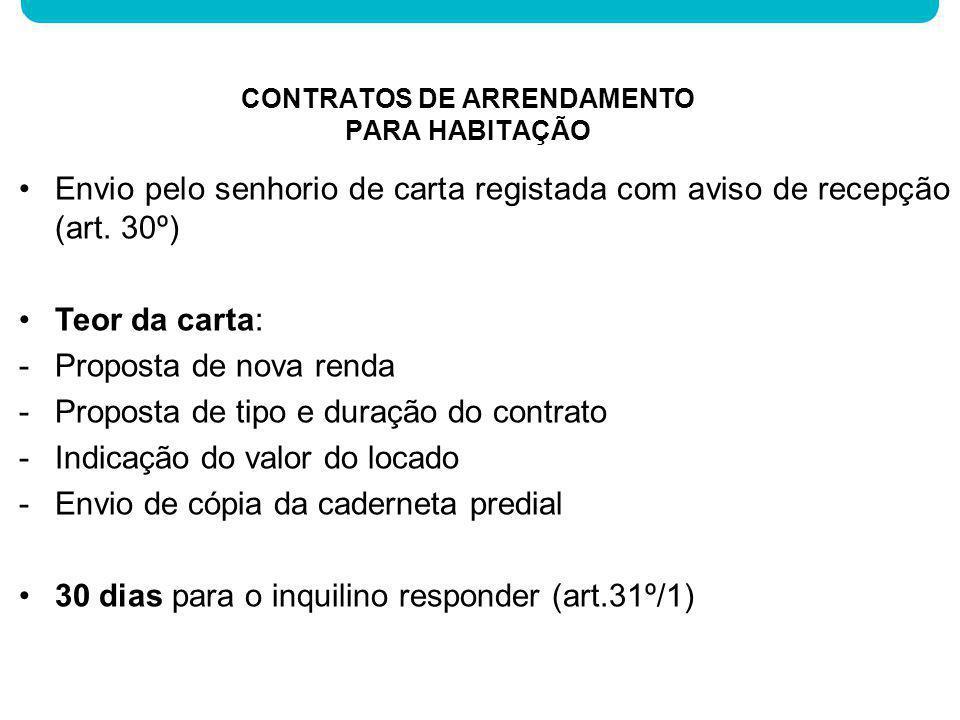 Envio pelo senhorio de carta registada com aviso de recepção (art. 30º) Teor da carta: -Proposta de nova renda -Proposta de tipo e duração do contrato