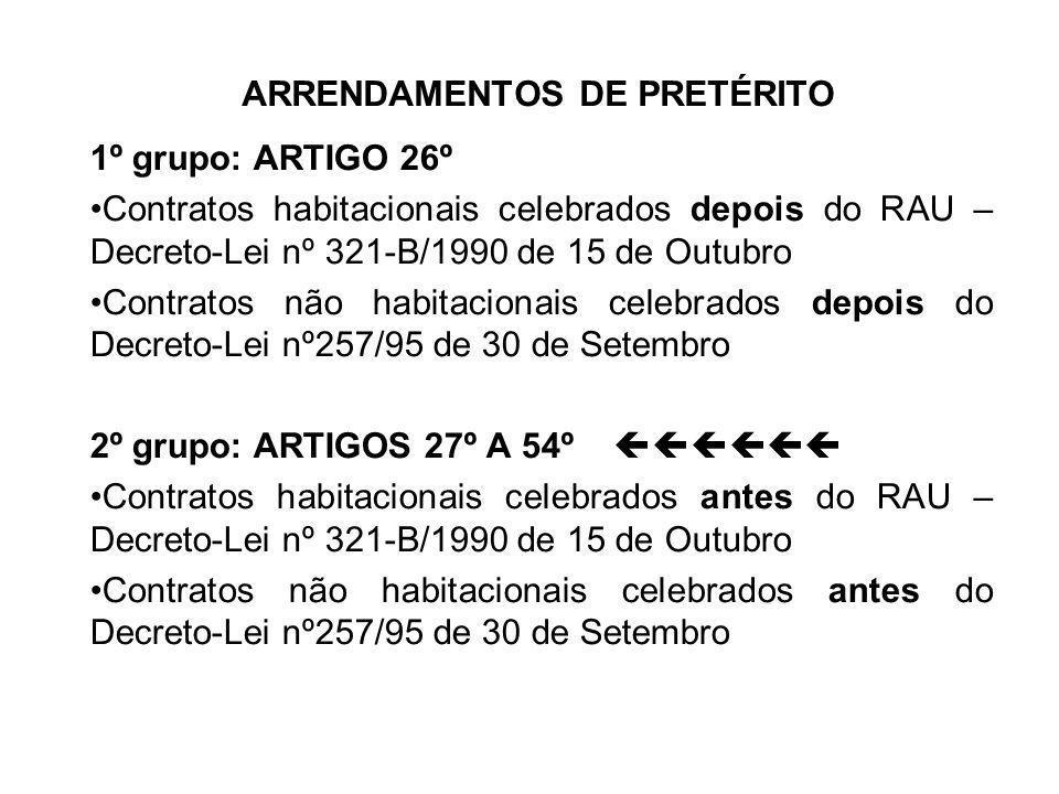ARRENDAMENTOS DE PRETÉRITO 1º grupo: ARTIGO 26º Contratos habitacionais celebrados depois do RAU – Decreto-Lei nº 321-B/1990 de 15 de Outubro Contrato