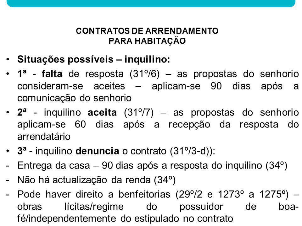 Situações possíveis – inquilino: 1ª - falta de resposta (31º/6) – as propostas do senhorio consideram-se aceites – aplicam-se 90 dias após a comunicaç