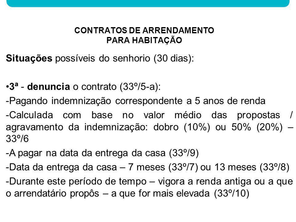 Situações possíveis do senhorio (30 dias): 3ª - denuncia o contrato (33º/5-a): -Pagando indemnização correspondente a 5 anos de renda -Calculada com b