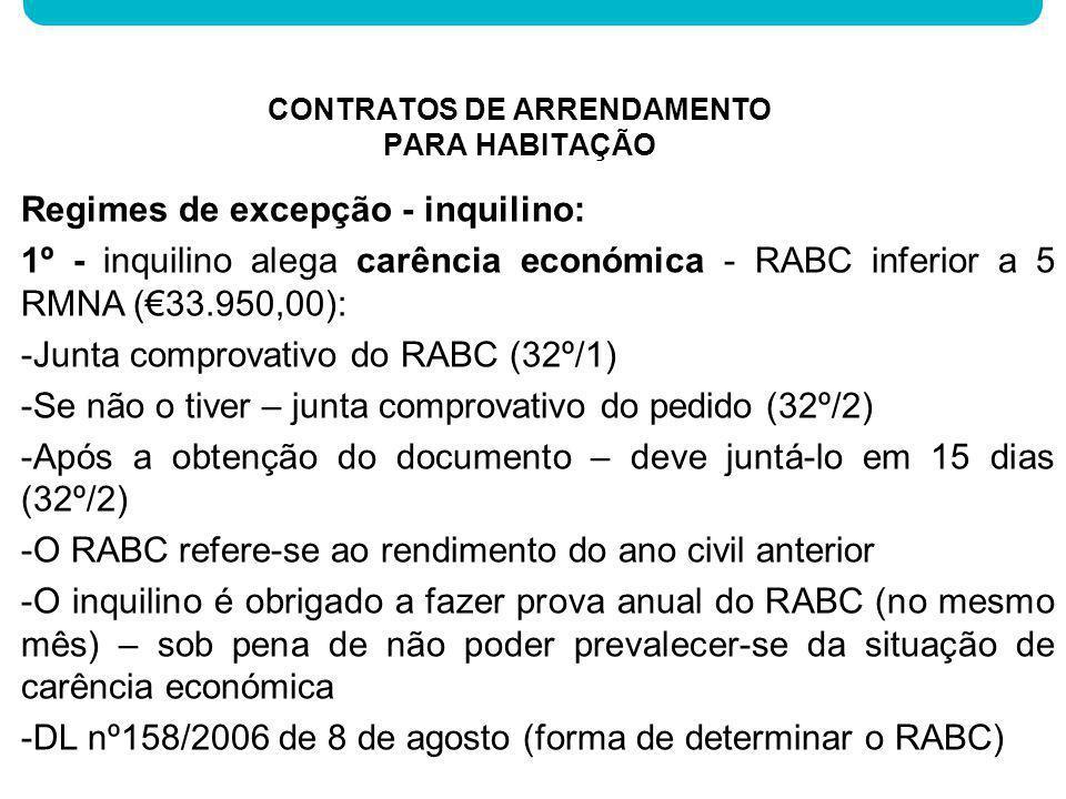 Regimes de excepção - inquilino: 1º - inquilino alega carência económica - RABC inferior a 5 RMNA (33.950,00): -Junta comprovativo do RABC (32º/1) -Se
