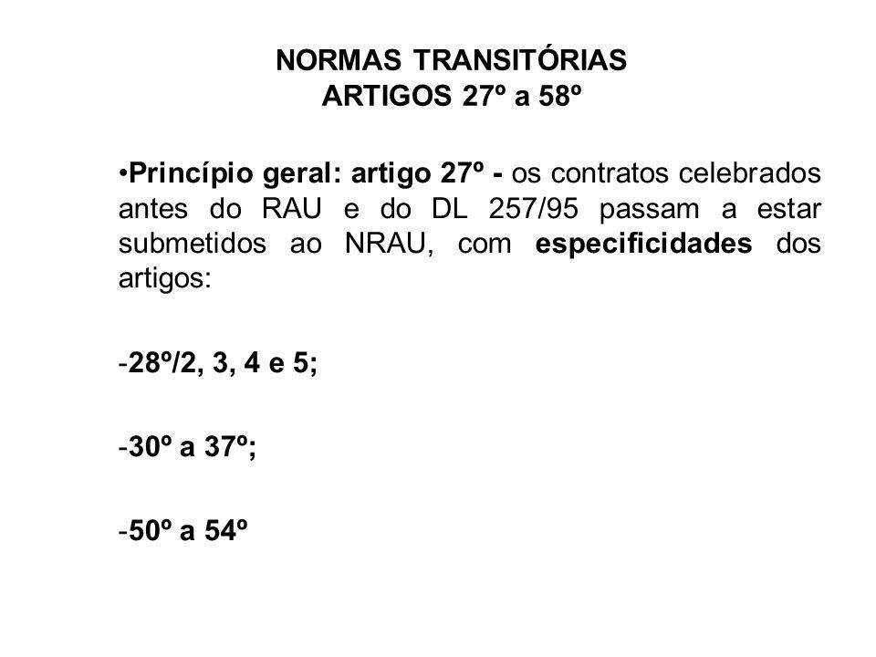 NORMAS TRANSITÓRIAS ARTIGOS 27º a 58º Princípio geral: artigo 27º - os contratos celebrados antes do RAU e do DL 257/95 passam a estar submetidos ao N