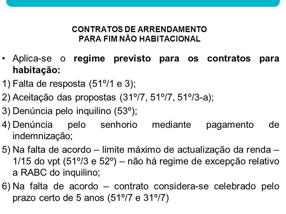 Aplica-se o regime previsto para os contratos para habitação: 1)Falta de resposta (51º/1 e 3); 2)Aceitação das propostas (31º/7, 51º/7, 51º/3-a); 3)De