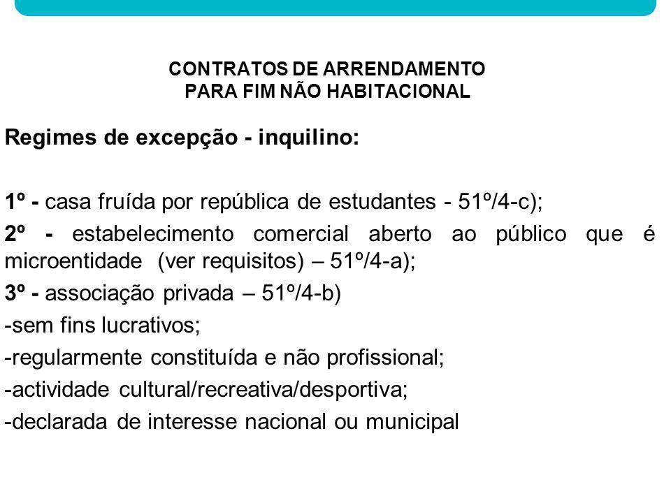 Regimes de excepção - inquilino: 1º - casa fruída por república de estudantes - 51º/4-c); 2º - estabelecimento comercial aberto ao público que é micro