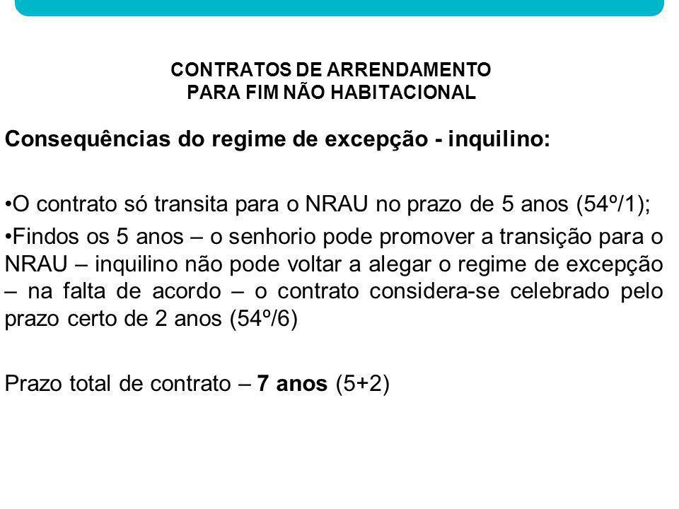 Consequências do regime de excepção - inquilino: O contrato só transita para o NRAU no prazo de 5 anos (54º/1); Findos os 5 anos – o senhorio pode pro