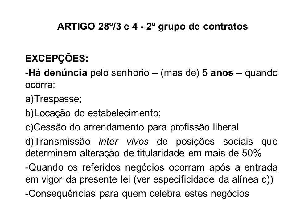 ARTIGO 28º/3 e 4 - 2º grupo de contratos EXCEPÇÕES: -Há denúncia pelo senhorio – (mas de) 5 anos – quando ocorra: a)Trespasse; b)Locação do estabeleci