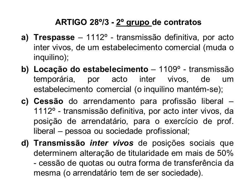 ARTIGO 28º/3 - 2º grupo de contratos a)Trespasse – 1112º - transmissão definitiva, por acto inter vivos, de um estabelecimento comercial (muda o inqui