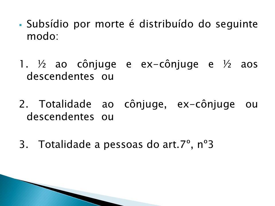 Subsídio por morte é distribuído do seguinte modo: 1. ½ ao cônjuge e ex-cônjuge e ½ aos descendentes ou 2. Totalidade ao cônjuge, ex-cônjuge ou descen