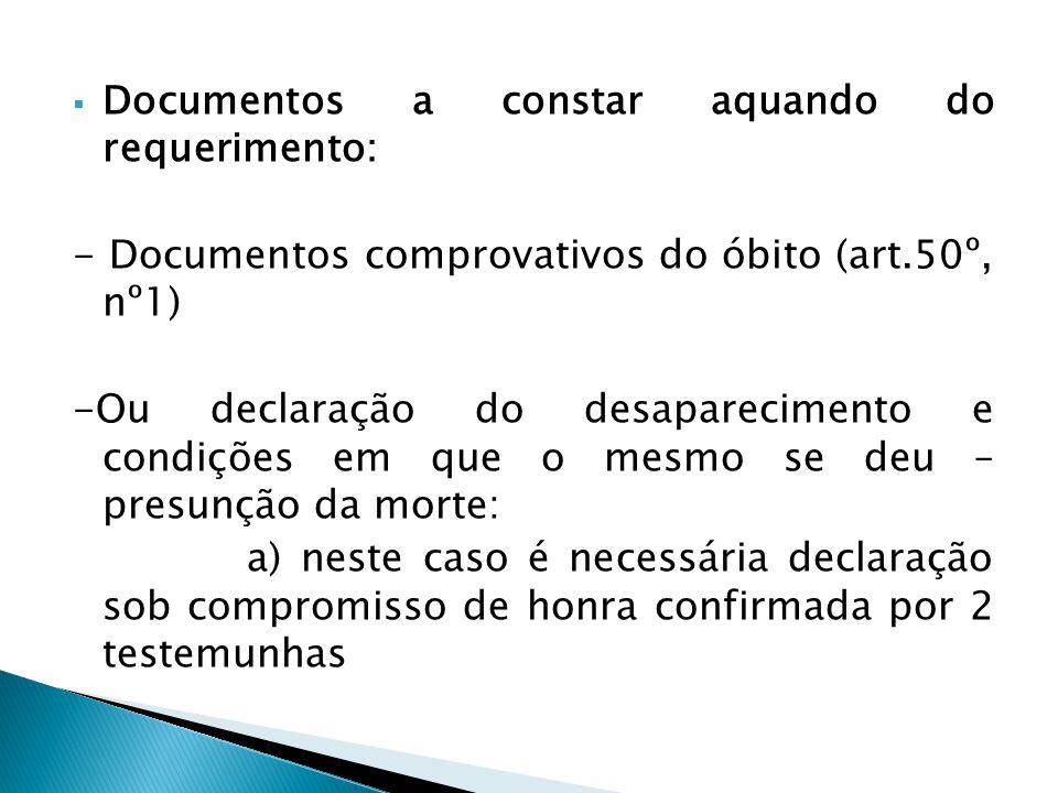 Documentos a constar aquando do requerimento: - Documentos comprovativos do óbito (art.50º, nº1) -Ou declaração do desaparecimento e condições em que