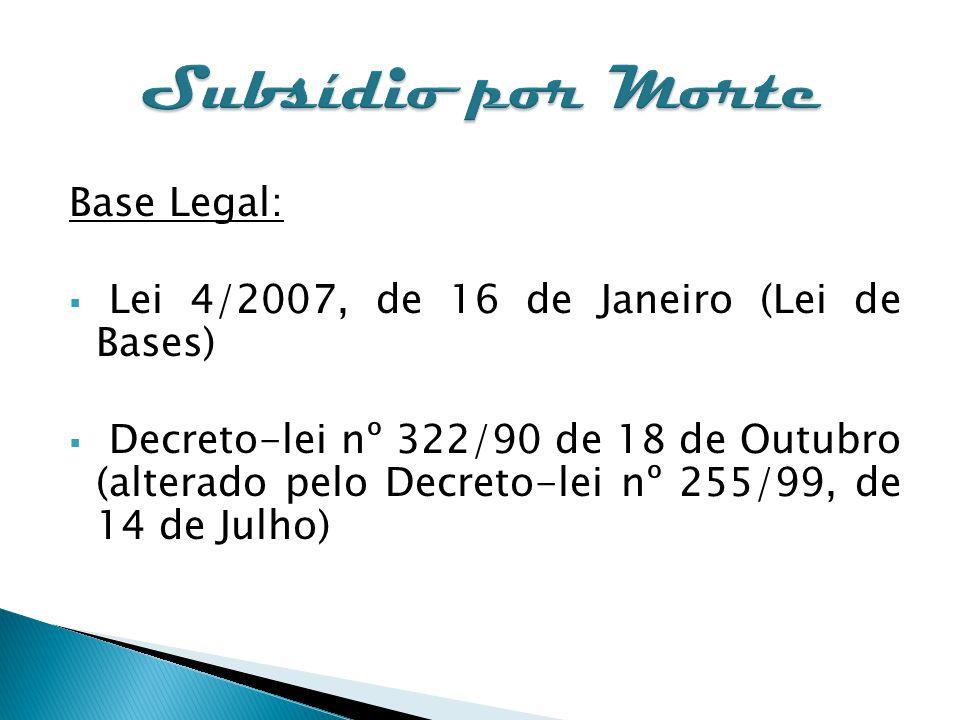 Base Legal: Lei 4/2007, de 16 de Janeiro (Lei de Bases) Decreto-lei nº 322/90 de 18 de Outubro (alterado pelo Decreto-lei nº 255/99, de 14 de Julho)