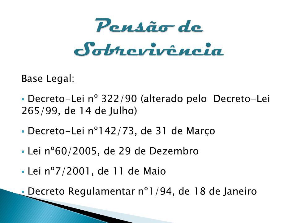 Pensão de Sobrevivência Base Legal: Decreto-Lei nº 322/90 (alterado pelo Decreto-Lei 265/99, de 14 de Julho) Decreto-Lei nº142/73, de 31 de Março Lei