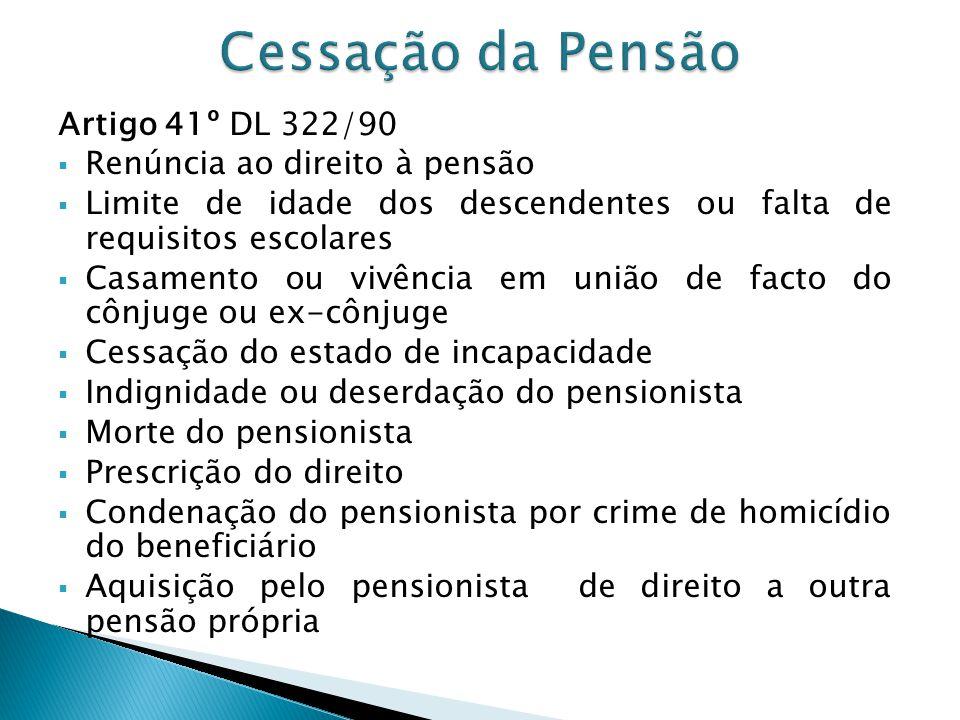 Artigo 41º DL 322/90 Renúncia ao direito à pensão Limite de idade dos descendentes ou falta de requisitos escolares Casamento ou vivência em união de