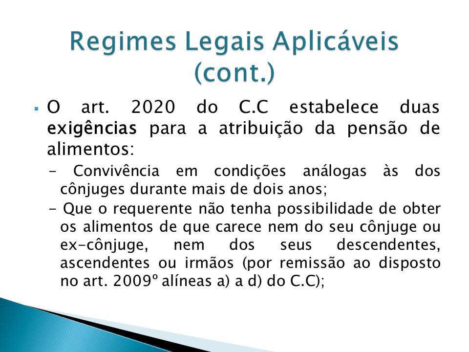 O art. 2020 do C.C estabelece duas exigências para a atribuição da pensão de alimentos: - Convivência em condições análogas às dos cônjuges durante ma