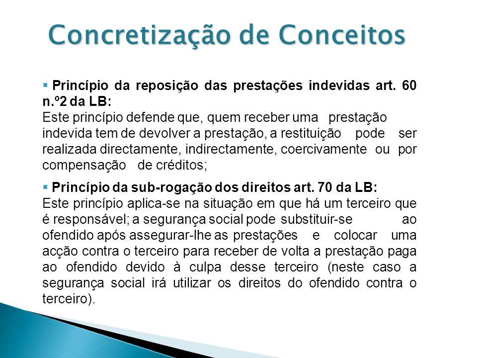 Concretização de Conceitos Princípio da reposição das prestações indevidas art. 60 n.º2 da LB: Este princípio defende que, quem receber uma prestação