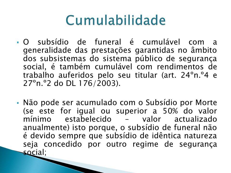 O subsídio de funeral é cumulável com a generalidade das prestações garantidas no âmbito dos subsistemas do sistema público de segurança social, é tam