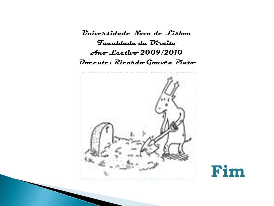 Universidade Nova de Lisboa Faculdade de Direito Ano Lectivo 2009/2010 Docente: Ricardo Gouvêa Pinto Fim