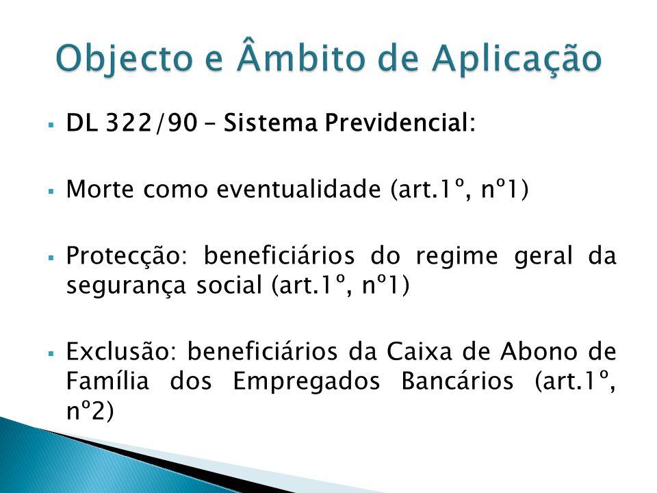 DL 322/90 – Sistema Previdencial: Morte como eventualidade (art.1º, nº1) Protecção: beneficiários do regime geral da segurança social (art.1º, nº1) Ex