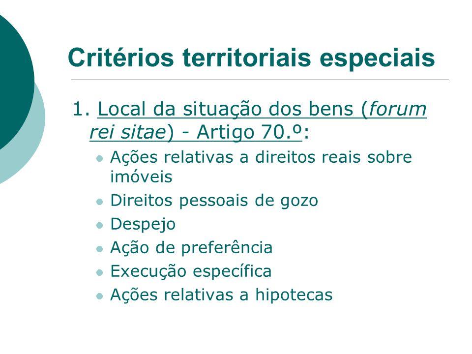 Critérios territoriais especiais 1. Local da situação dos bens (forum rei sitae) - Artigo 70.º: Ações relativas a direitos reais sobre imóveis Direito
