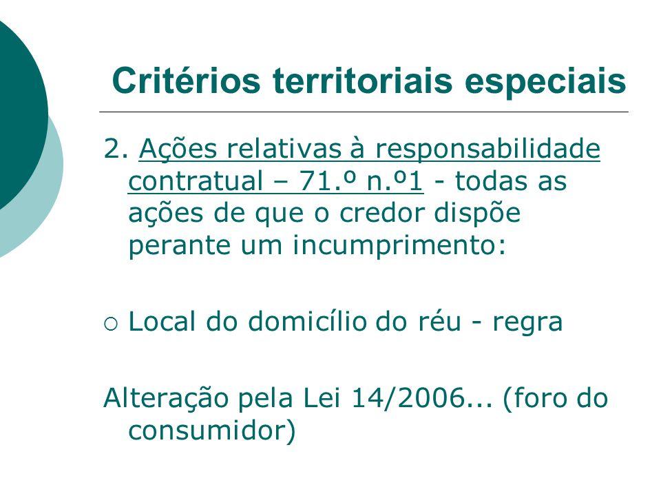 2. Ações relativas à responsabilidade contratual – 71.º n.º1 - todas as ações de que o credor dispõe perante um incumprimento: Local do domicílio do r