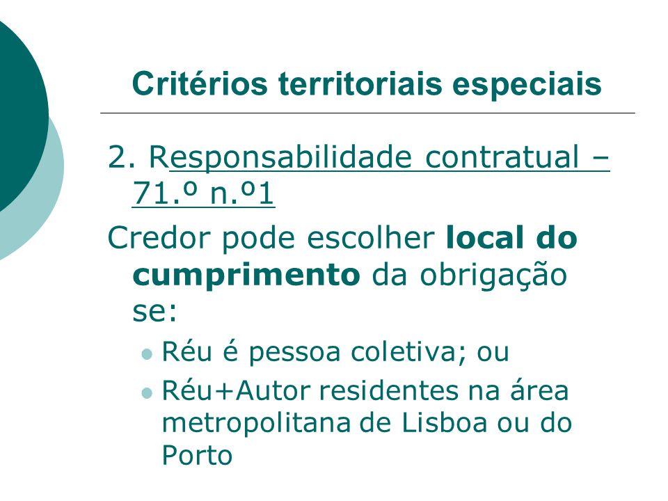 2. Responsabilidade contratual – 71.º n.º1 Credor pode escolher local do cumprimento da obrigação se: Réu é pessoa coletiva; ou Réu+Autor residentes n