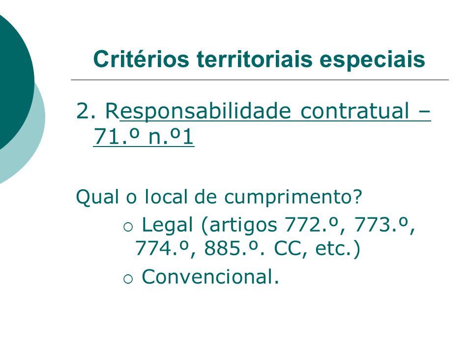 Critérios territoriais especiais 2. Responsabilidade contratual – 71.º n.º1 Qual o local de cumprimento? Legal (artigos 772.º, 773.º, 774.º, 885.º. CC
