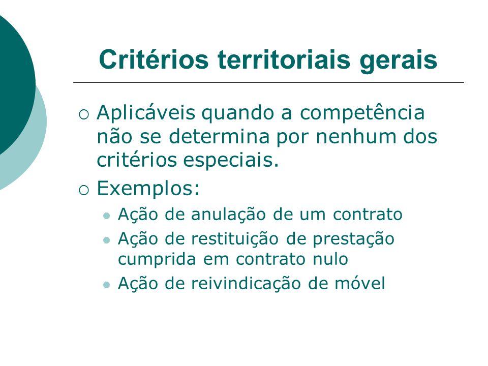 Critérios territoriais gerais Aplicáveis quando a competência não se determina por nenhum dos critérios especiais. Exemplos: Ação de anulação de um co