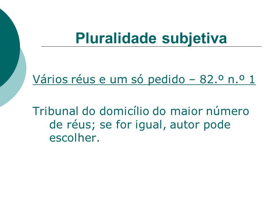 Pluralidade subjetiva Vários réus e um só pedido – 82.º n.º 1 Tribunal do domicílio do maior número de réus; se for igual, autor pode escolher.