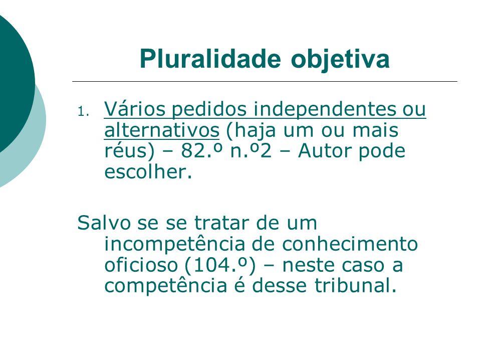 Pluralidade objetiva 1. Vários pedidos independentes ou alternativos (haja um ou mais réus) – 82.º n.º2 – Autor pode escolher. Salvo se se tratar de u