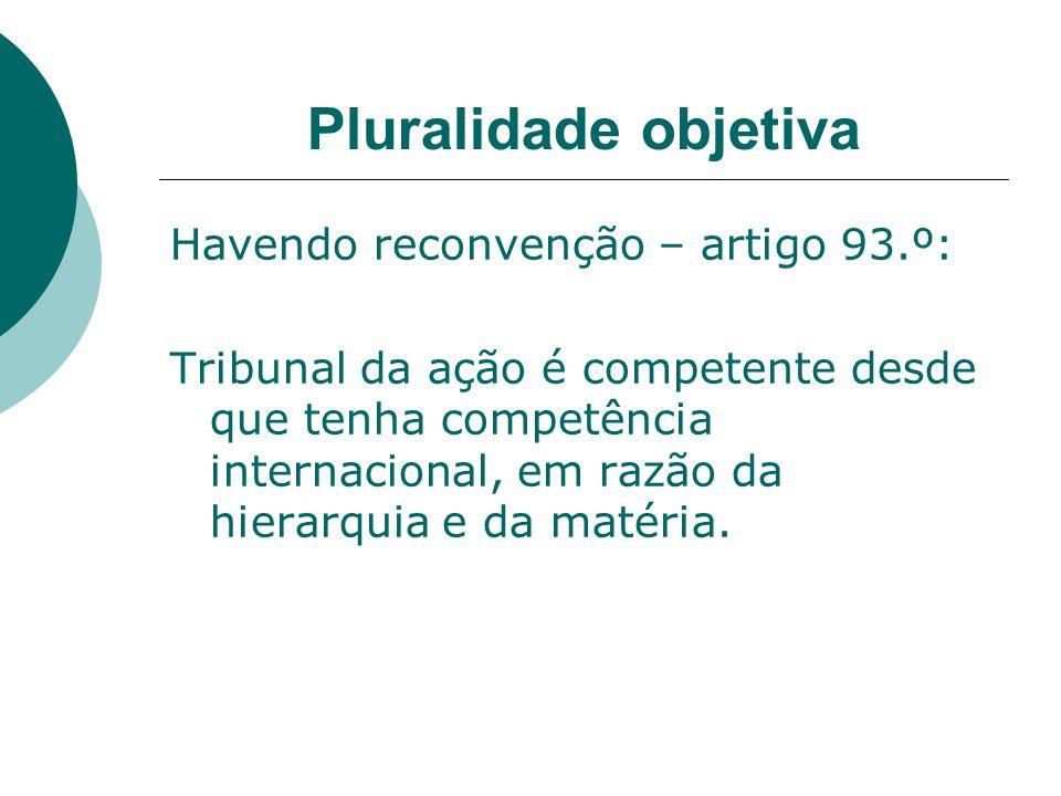 Pluralidade objetiva Havendo reconvenção – artigo 93.º: Tribunal da ação é competente desde que tenha competência internacional, em razão da hierarqui