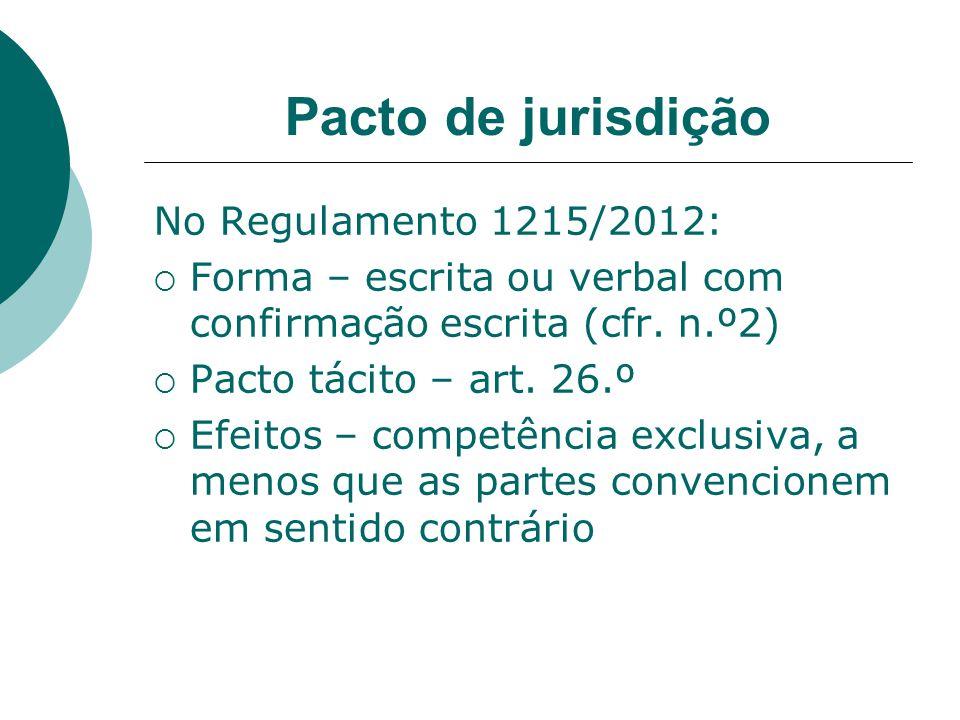 Pacto de jurisdição No Regulamento 1215/2012: Forma – escrita ou verbal com confirmação escrita (cfr. n.º2) Pacto tácito – art. 26.º Efeitos – competê