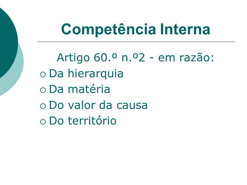 Competência Interna Artigo 60.º n.º2 - em razão: Da hierarquia Da matéria Do valor da causa Do território