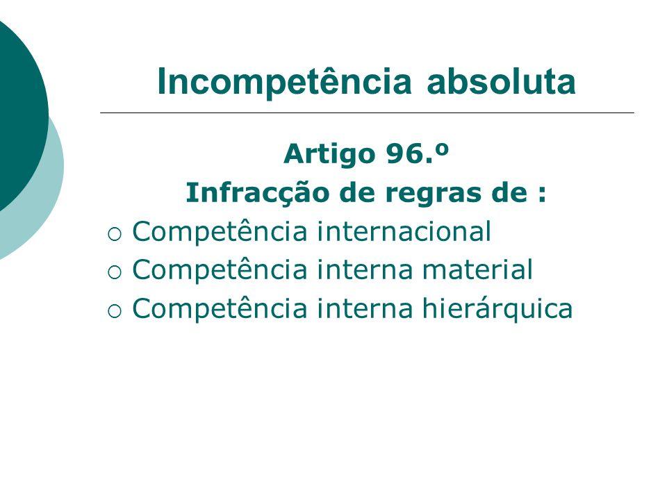 Incompetência absoluta Artigo 96.º Infracção de regras de : Competência internacional Competência interna material Competência interna hierárquica