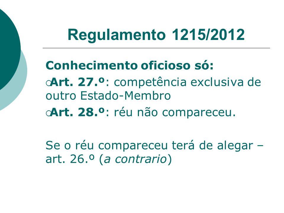 Regulamento 1215/2012 Conhecimento oficioso só: Art. 27.º: competência exclusiva de outro Estado-Membro Art. 28.º: réu não compareceu. Se o réu compar
