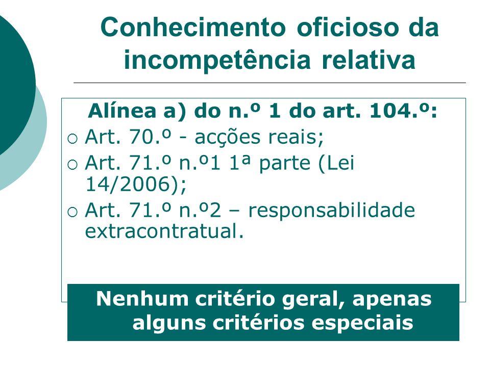 Conhecimento oficioso da incompetência relativa Alínea a) do n.º 1 do art. 104.º: Art. 70.º - acções reais; Art. 71.º n.º1 1ª parte (Lei 14/2006); Art