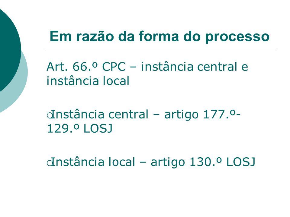 Em razão da forma do processo Art. 66.º CPC – instância central e instância local Instância central – artigo 177.º- 129.º LOSJ Instância local – artig