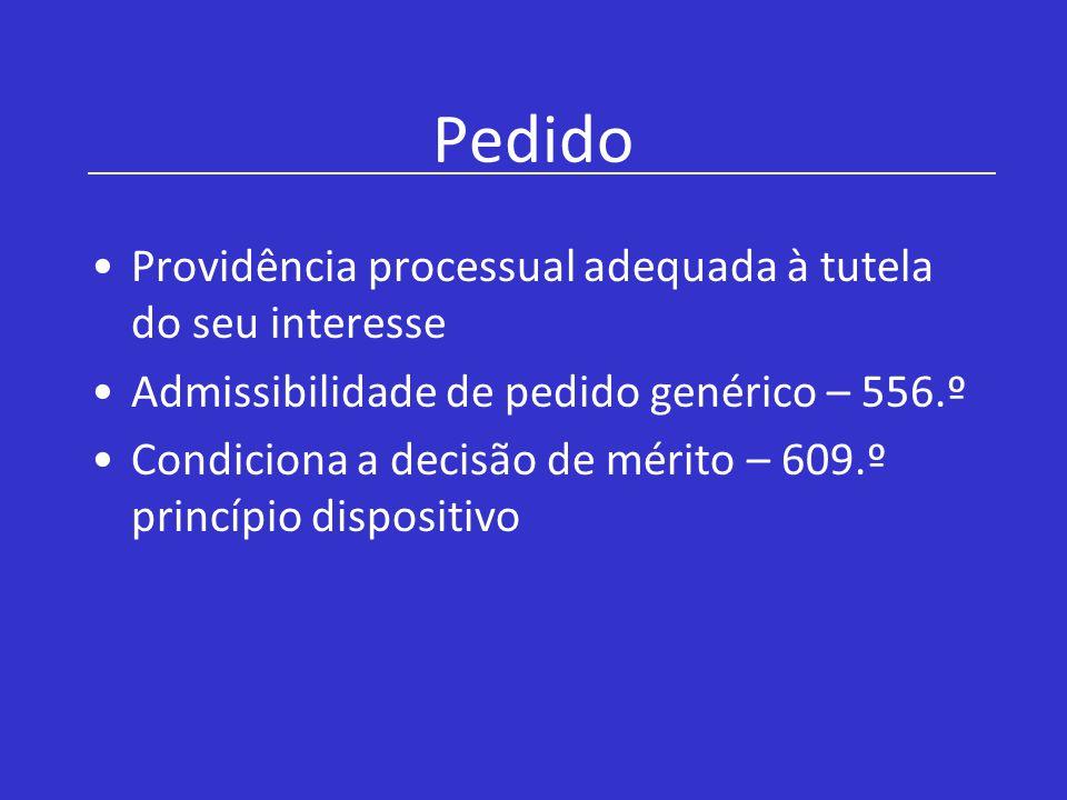 Pedido Providência processual adequada à tutela do seu interesse Admissibilidade de pedido genérico – 556.º Condiciona a decisão de mérito – 609.º pri