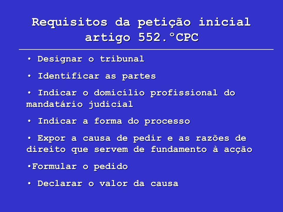 Requisitos da petição inicial artigo 552.ºCPC Designar o tribunal Designar o tribunal Identificar as partes Identificar as partes Indicar o domicílio