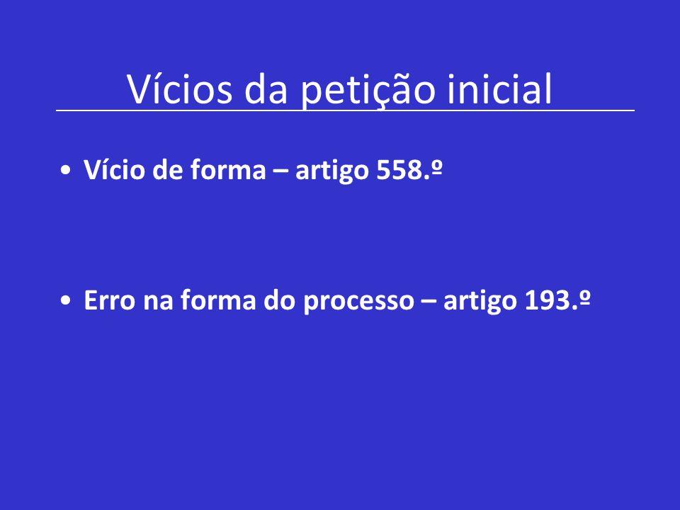 Vícios da petição inicial Vício de forma – artigo 558.º Erro na forma do processo – artigo 193.º