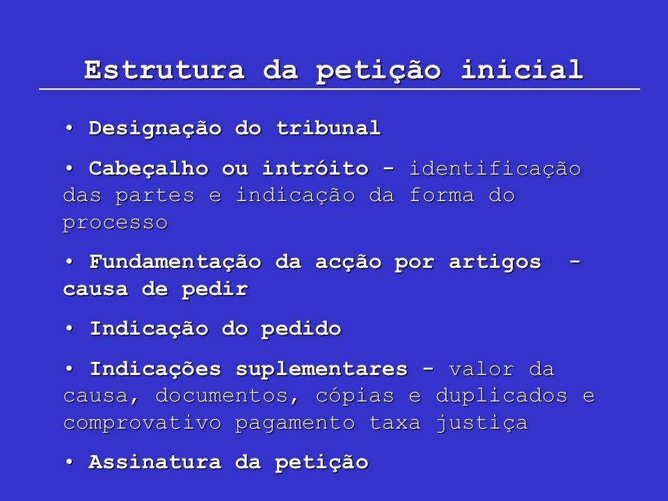 Estrutura da petição inicial Designação do tribunal Designação do tribunal Cabeçalho ou intróito - identificação das partes e indicação da forma do pr