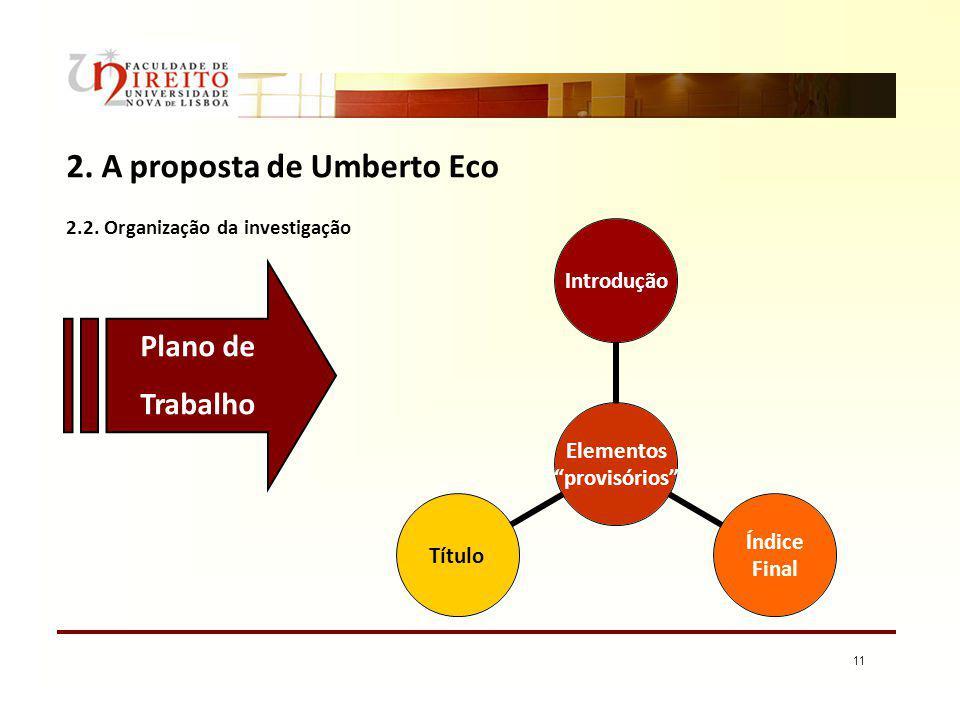11 2. A proposta de Umberto Eco 2.2. Organização da investigação Elementos provisórios Introdução Índice Final Título Plano de Trabalho