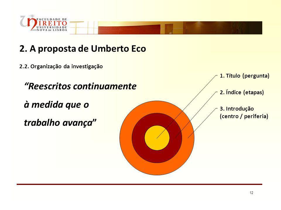 12 2. A proposta de Umberto Eco 2.2. Organização da investigação 1. Título (pergunta) 2. Índice (etapas) 3. Introdução (centro / periferia) Reescritos