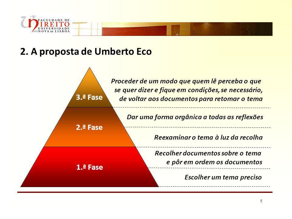 5 2. A proposta de Umberto Eco 3.ª Fase 2.ª Fase 1.ª Fase Escolher um tema preciso Recolher documentos sobre o tema e pôr em ordem os documentos Reexa